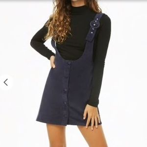 NWT Forever 21 Navy Corduroy Pinafore Dress